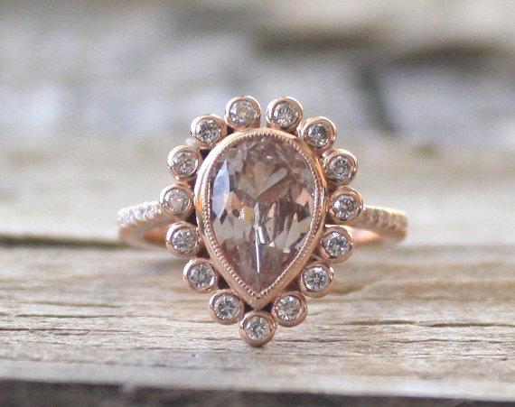 Hochzeit - Pear Champagne Peach Sapphire Diamond Halo Ring in 14K Rose Gold - New