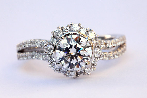 custom made for you 160 carat round halo pave antique style diamond engagement ring 14k white gold weddings brides bph030 new - Custom Made Wedding Rings
