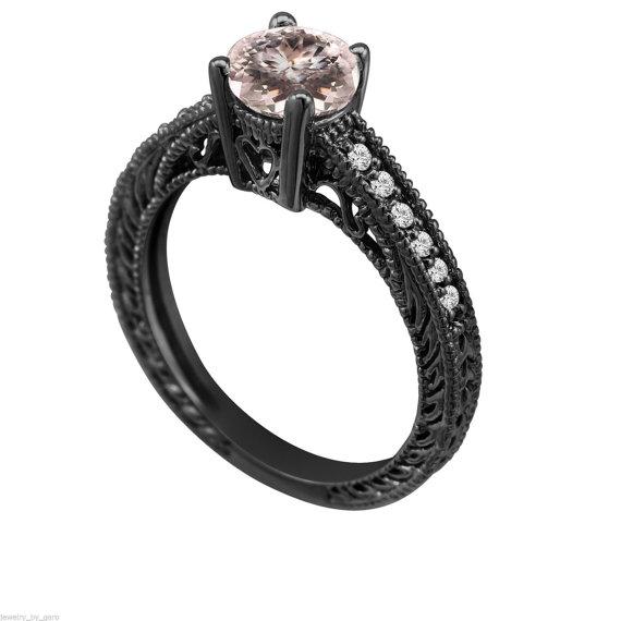 Morganite & Diamond Engagement Ring Vintage Style 14K Black Gold 0 62 Car