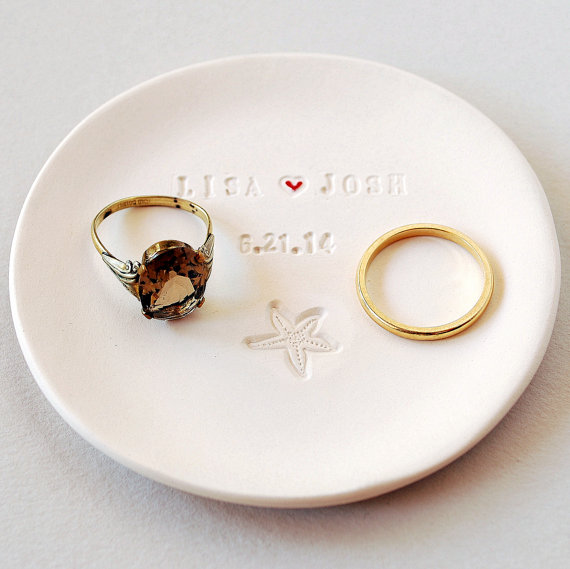 Beach Wedding Favor Beach Wedding Gift Ring Dish Personalized