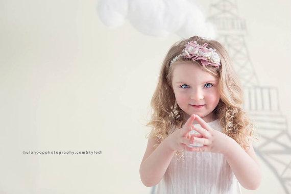 زفاف - Rosette headband, pink headband, ivory headbands, bowtique headbands for baby girls, baby girl headband, rosettes ivory rosettes think pink - New