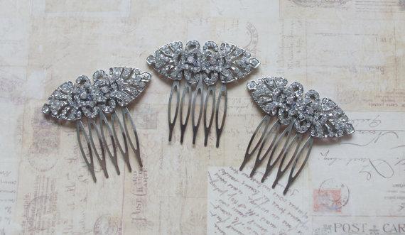 زفاف - Bridesmaid Package - Art Deco Hair Combs - Rhinestone Bridal Combs - SILVER - New