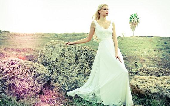 romantic wedding dress with lace top and chiffon skirt - boho