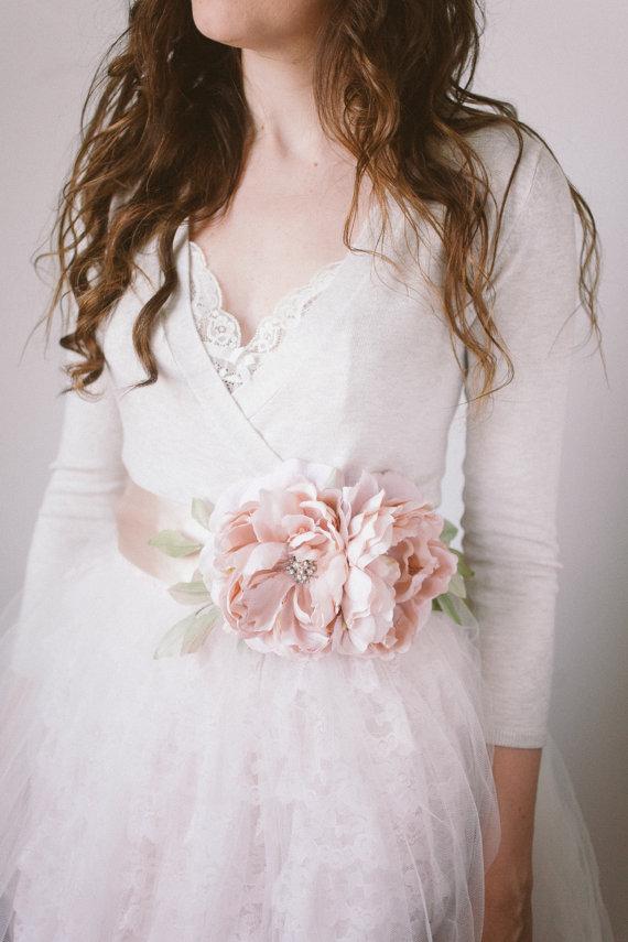 Wedding - Flower Bridal Sash, Blush- Style Delilah - New