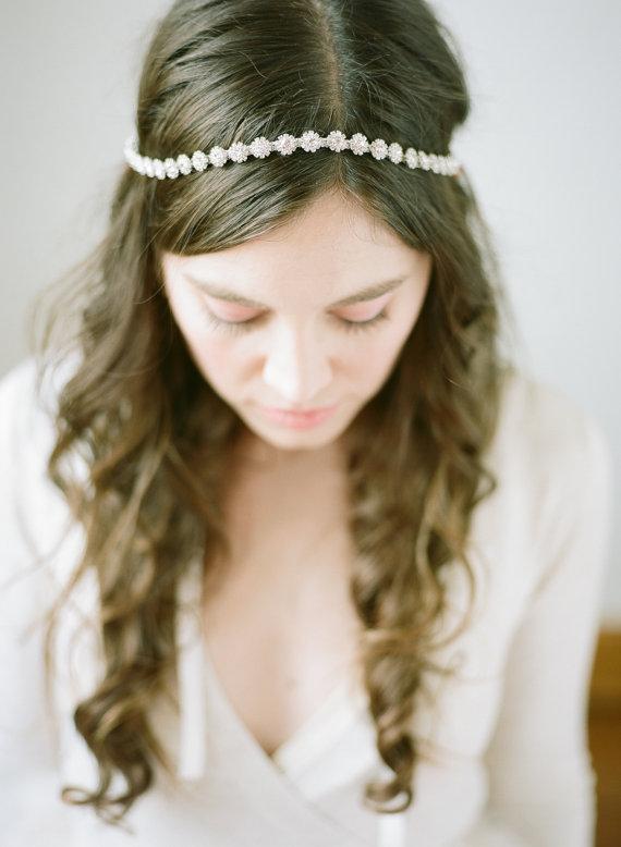 Mariage - Delicate Crystal Bridal Halo, Silver - New
