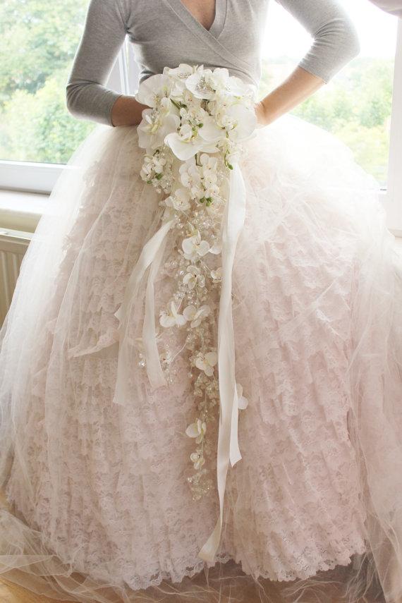 Bridal Crystal Orchid Bouquet, Cascading Rhinestone Bouquet - New #2222180 - Weddbook
