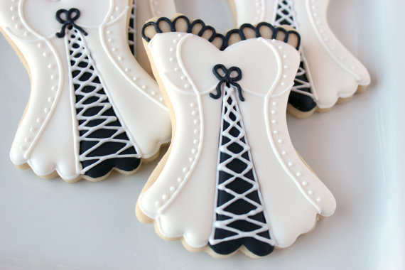 lingerie decorated cookie favors bridal shower corset cookies corset cookies risque cookies new