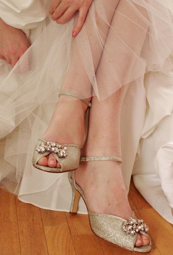 Sample Sale White Gold Glitter Finish Rhinestone Wedding Shoes Crystal Bridal Art Deco