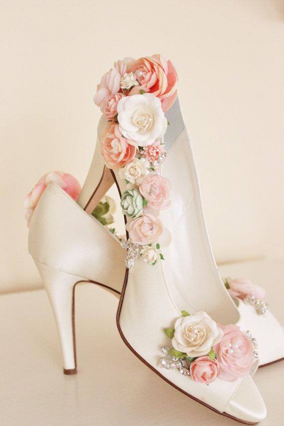 Wedding - Whimsical Woodland Blush Flower Bridal Shoes, Whimsical Wedding Shoes - New