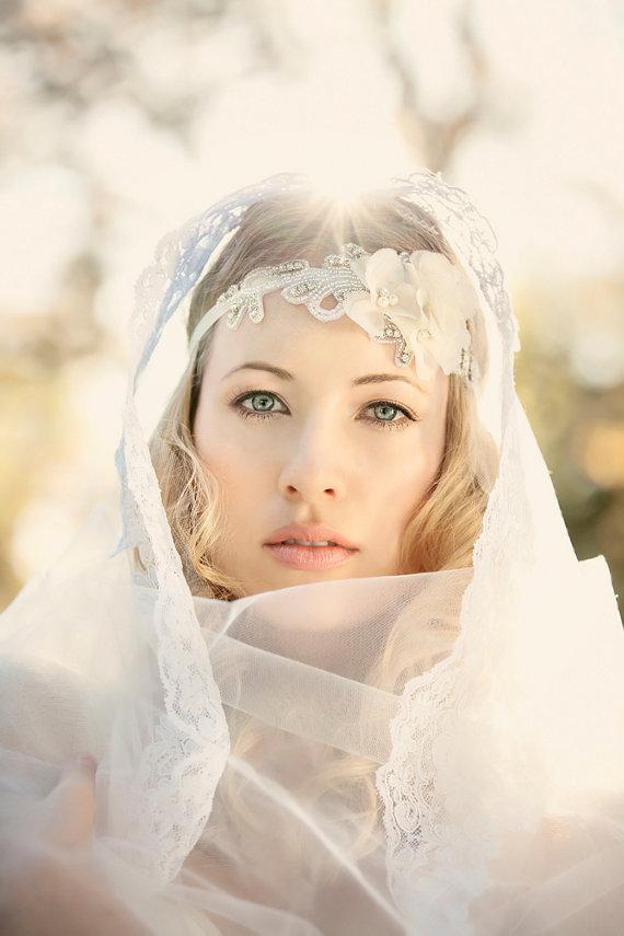 Wedding - Bridal Headband, Floral Headband, Ivory Rhinestone Headband, Wedding Headpiece, Fascinator - New