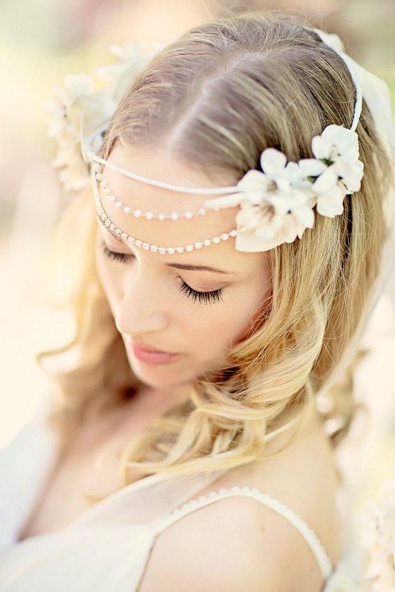 Свадьба - Bridal Headband, Floral Wedding Headband, Bohemian Head Piece,  Wedding Headpiece, - New