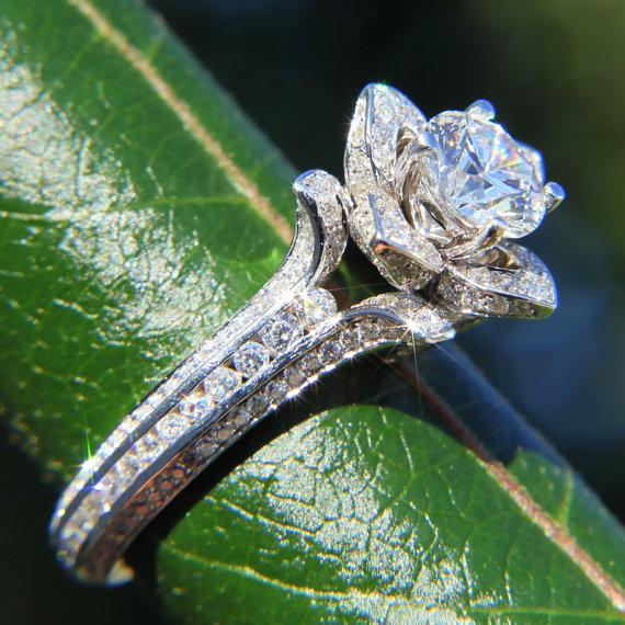 Mariage - UNIQUE Flower Lotus Rose Diamond Engagement Semi mount Setting - flower ring on a leaf - 14k white, yellow or rose gold - fL01 - New