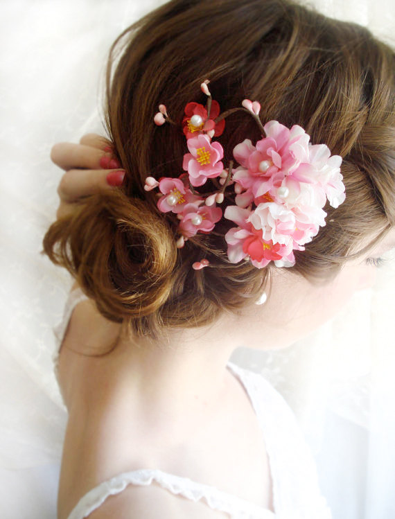 Hot pink bridal hair accessories cherry blossom hair clip 2225564 hot pink bridal hair accessories cherry blossom hair clip mightylinksfo
