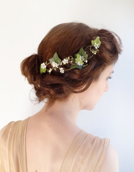 Wedding - ivy hair clip -  bridal hair vine