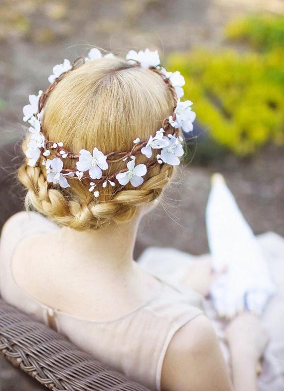 Mariage - bridal hair accessories -  white flower hair wreath
