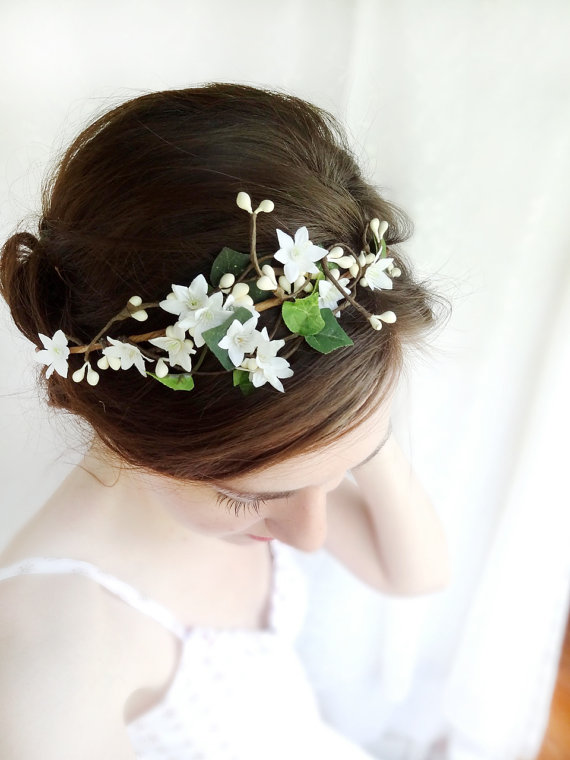 Mariage - ivy head wreath -  ivory flower hair circlet