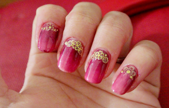 Wedding - 1 pack of gold 3d nail sticker, nail decal. - New