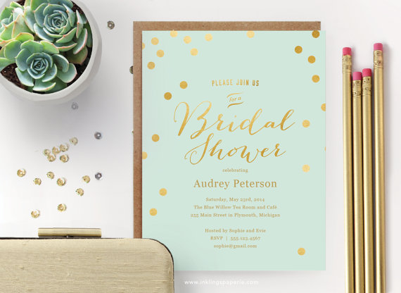 printable bridal shower invitation // mint with gold dots, Wedding invitations