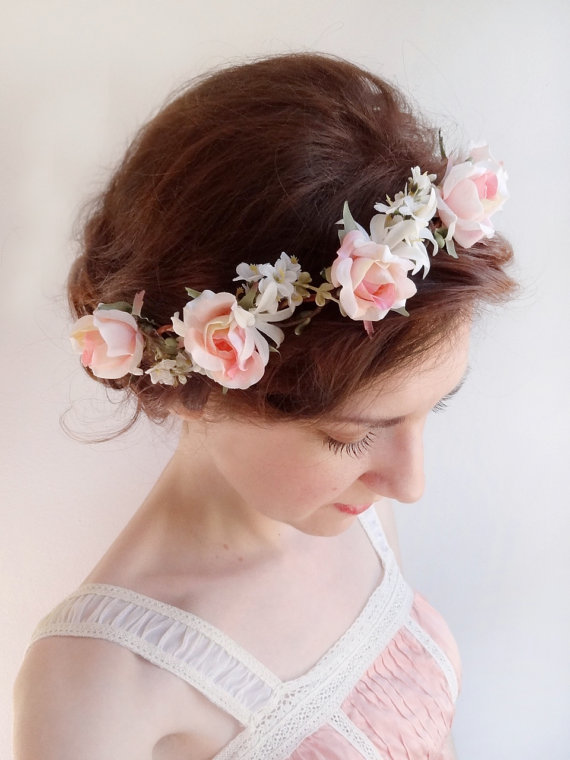 Wedding Hair Flowers Pink : Pink rose flower crown bridal hair piece weddbook