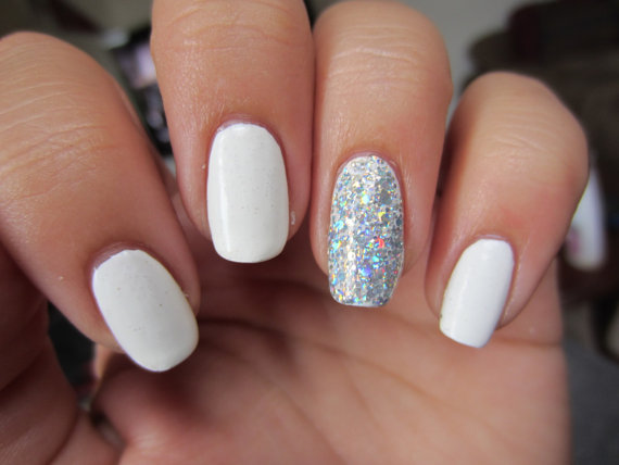 Silver Wedding White And Silver Nails New 2226184