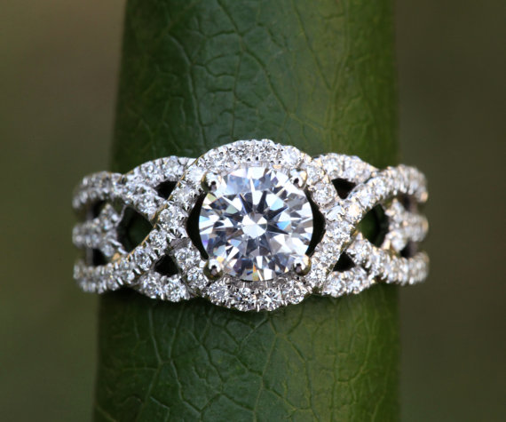 Mariage - TWIST OF FATE - 14k White gold - Diamond Engagement Ring - Halo - Unique - Swirl - Pave - Bp024 - New