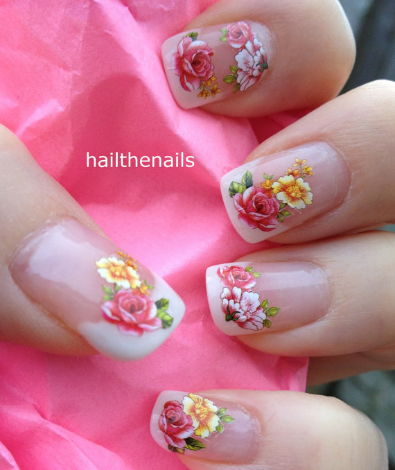 Wedding - Nail WRAPS Nail Art Water Transfers Decals - French Roses Flowers YD1051 - New