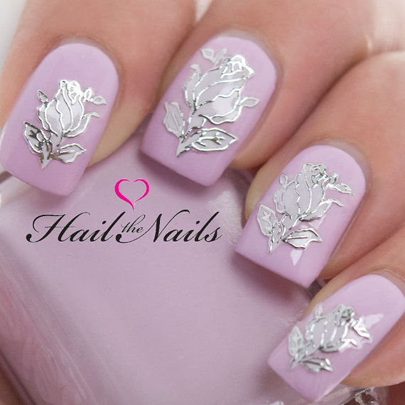 Nail Art Wraps Self Adhesive Stickers Flowers Decals Y610 Salon Quality Wedding New