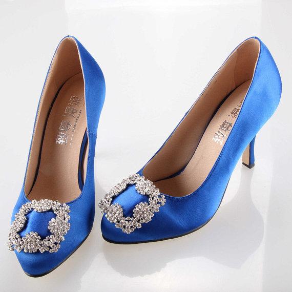 زفاف - Sweet royal blue bow crystal silk satin shoes , wedding princess bridal shoes bridalmaids shoes crystal clip - New
