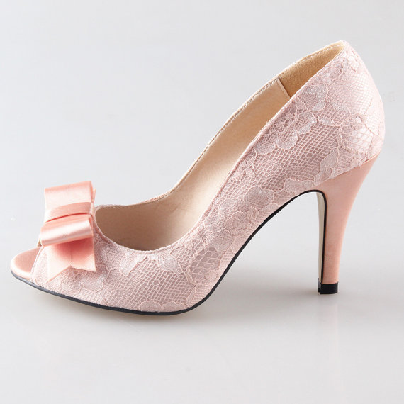 Peach Nude Blush Lace Bow Shoes Wedding Party Shoes   Peep Toe Open Toe Heels  Pumps Green Blue Heels   Other Colors Are Available Too   New