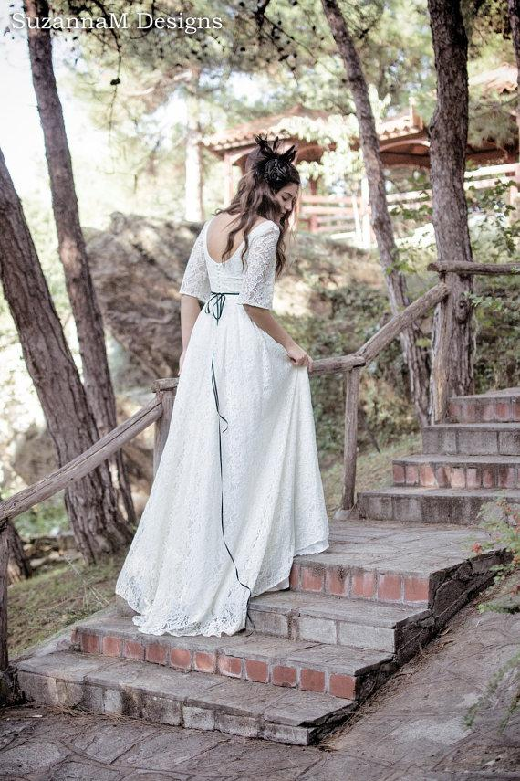 زفاف - Cream - Ivory 50s Wedding Dress Full Skirt Bridal Dress Original 50s Style Bridal Dress Tea Length Dress - Handmade by SuzannaM Designs - New