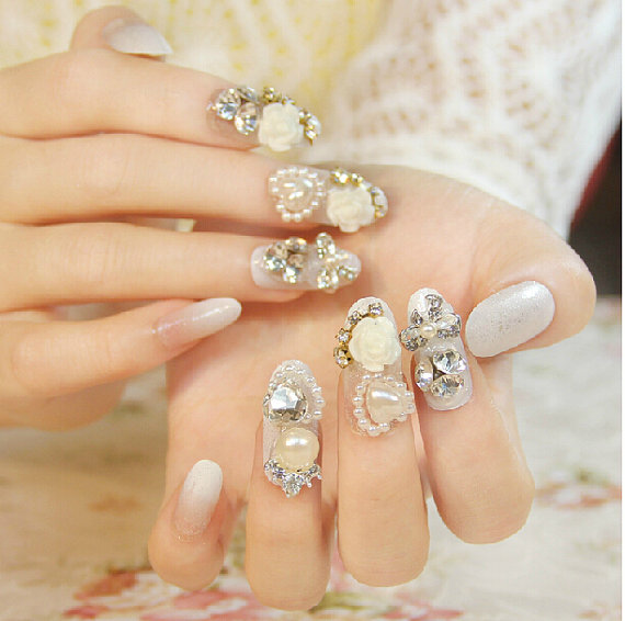3d Nail Art Nail Sticker Nail Decal Rhinestone Flower White Nail