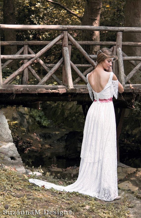Boho wedding dress bohemian bridal gown long wedding dress for Where to buy boho wedding dresses