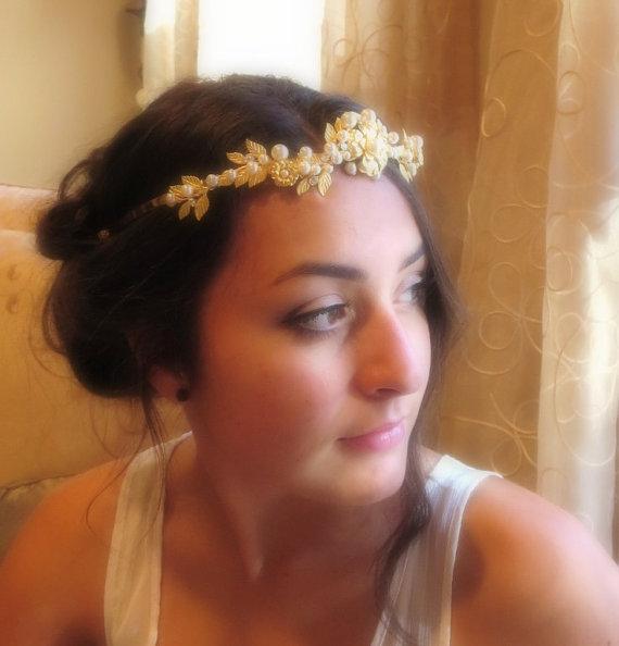 Mariage - Gold Bridal tiara, Gold Bridal hair crown, Bridal flower headband, Leaf headband, Gold flower headpiece, Vintage style, Grecian headpiece - New