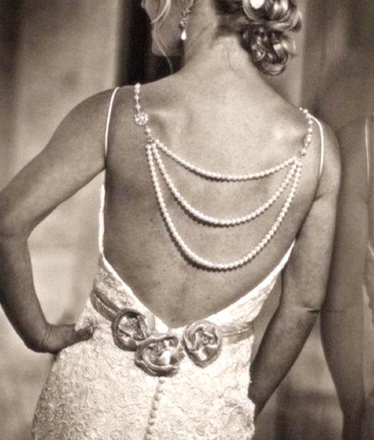 Mariage - Bridal backdrop necklace -  Wedding necklace
