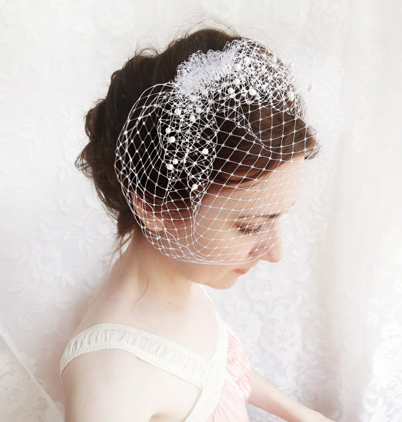 Mariage - wedding birdcage veil with pearl -  small wedge bridal veil - FROST - russian veiling