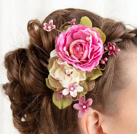 Fuchsia Hochzeit Bridal Hairpiece Hair Accessories