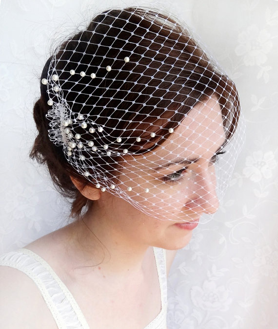 Свадьба - birdcage veil with pearls -  wedding bandeau veil