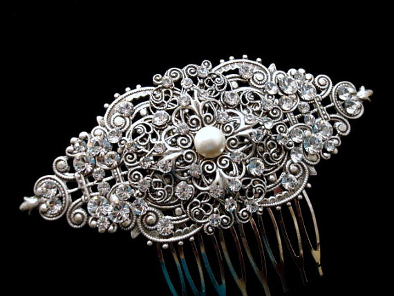 Bridal Hair Comb Vintage Antique Silver Rhinestone Swarovski Crystals And Pearl New