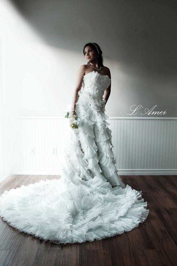 Yesenia - Princess Style Silk Taffeta Flower Wedding Dress Ball Gown ...