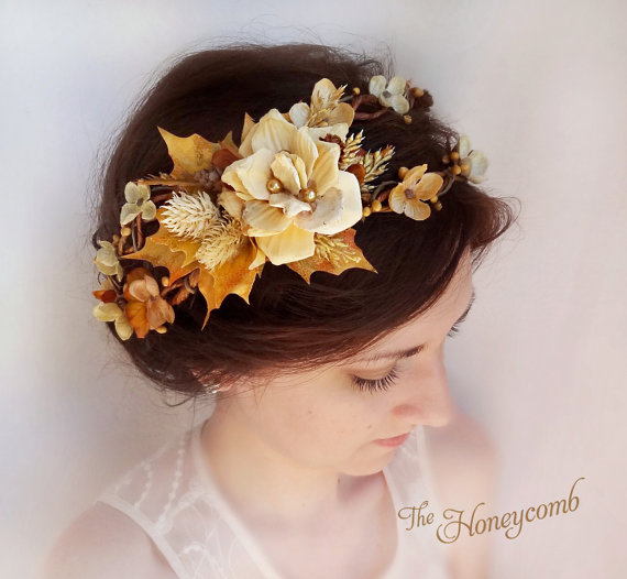 Fall Wedding Hairstyles With Flower Crown: Fall Hair Accessories, Flower Crown, Wedding Headpiece