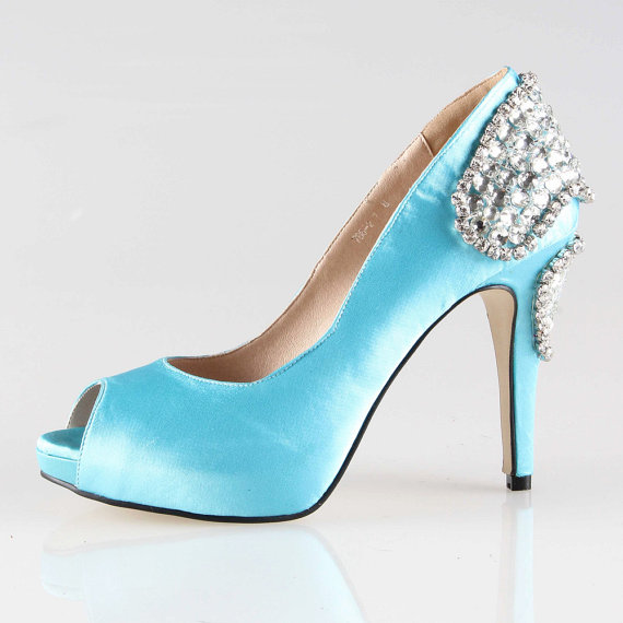 "Boda - Handmad malibu tiffany blue crystal shoes wedding shoes party shoes "" love ""  peep toe prom pumps - New"