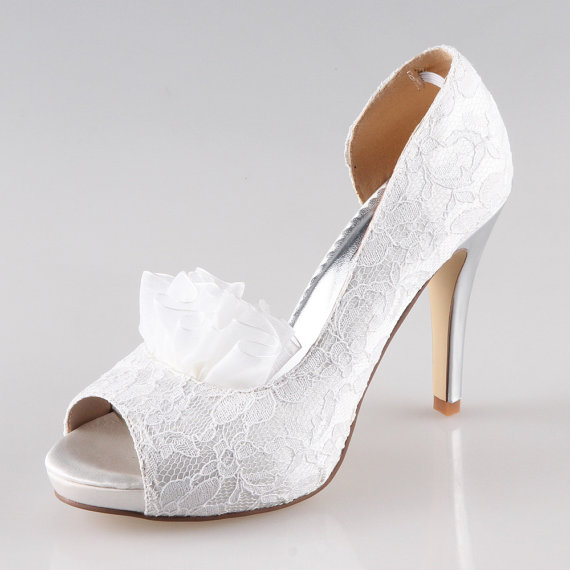 Mariage - Handmade ivory white lace wedding shoes , party shoes , prom shoes lace peep toes pumps - New