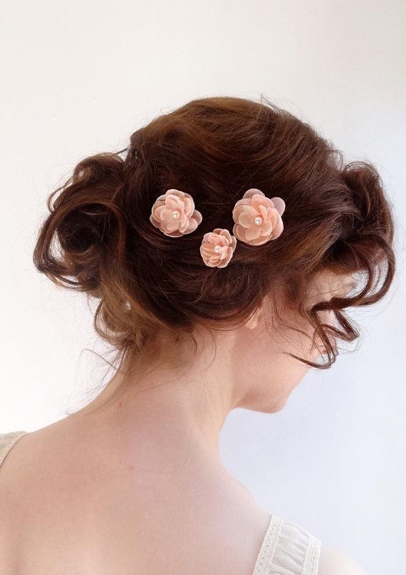 Blush Pink Hair Pins Bridal Hair Piece Wedding Hair