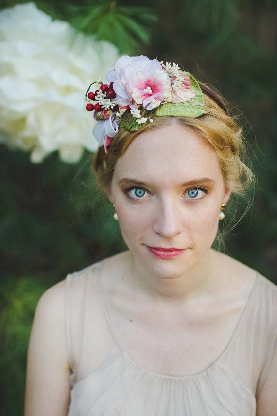 Свадьба - red berry headband