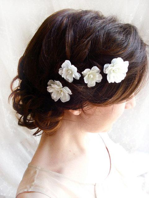 Mariage - white flower hair pins, white bridal hair accessories - FALLEN STARS - wedding hair clips, bridal flower accessories, bridesmaid - New