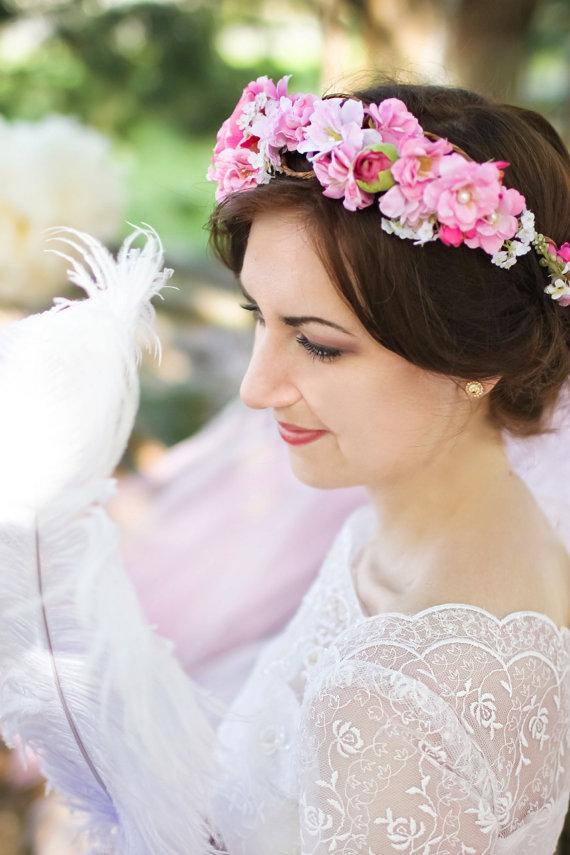 Mariage - bright pink flower crown
