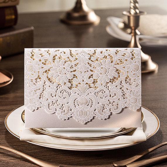 Wedding - 50 Pcs Luxury Pocket Lace Wedding Invitation