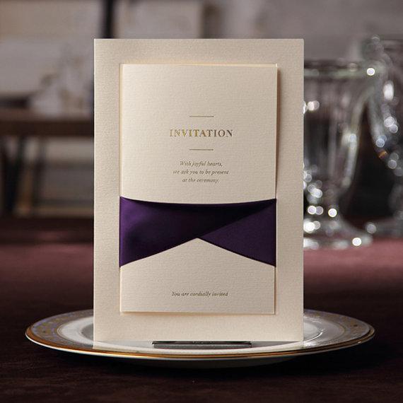 Wedding - 70 Pcs Luxury & Elegant Invitation Cards With Purple Ribbon Bow, Customized Ivory Invitations, Ship Worldwide 3-5 Days -- Set of 70 pcs - New