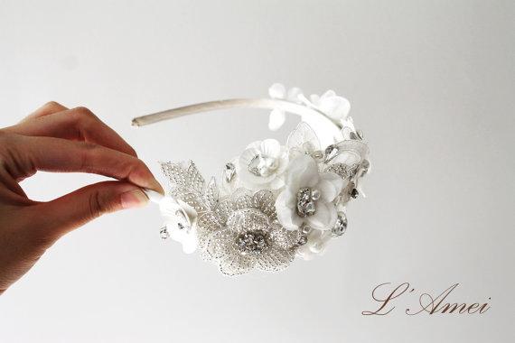 Mariage - Crystal Rhinestone Beaded Bridal Headpiece Headband