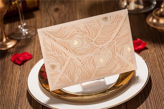 زفاف - 50 Pcs Wedding Invitation With Peacock Feather Design